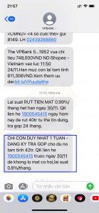 Tin nhắn mời trả góp thẻ tín dụng VPbank